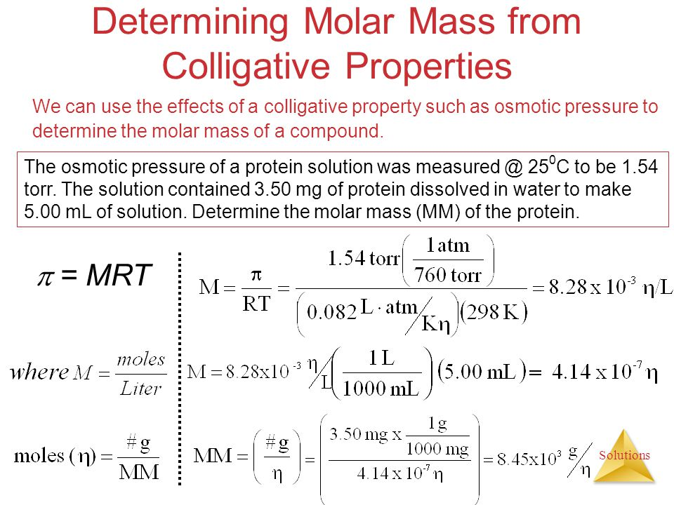 Determining Molar Mass from Colligative Properties
