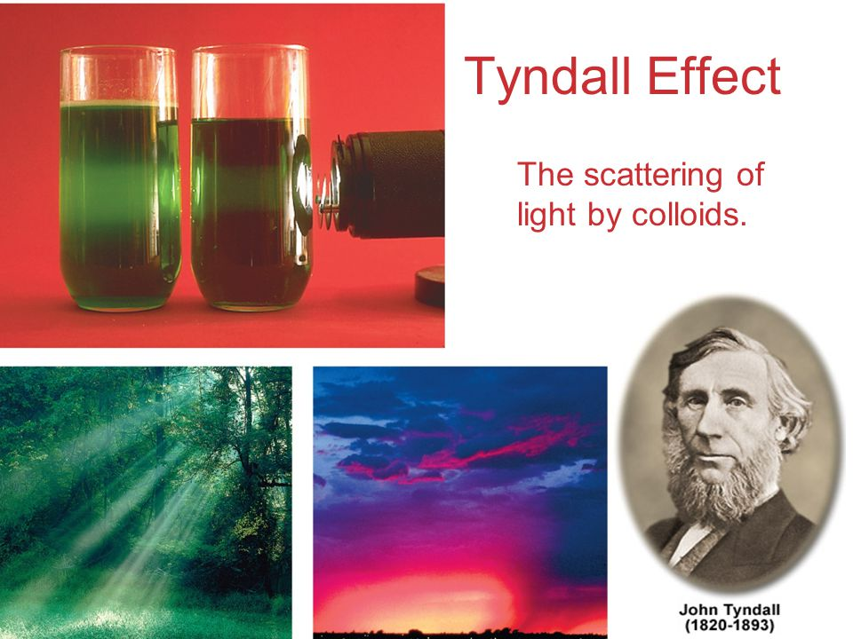 Tyndall Effect The scattering of light by colloids.