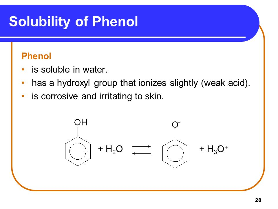 Solubility of Phenol Phenol is soluble in water.