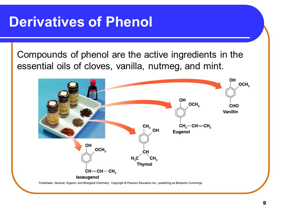 Derivatives of Phenol Compounds of phenol are the active ingredients in the essential oils of cloves, vanilla, nutmeg, and mint.