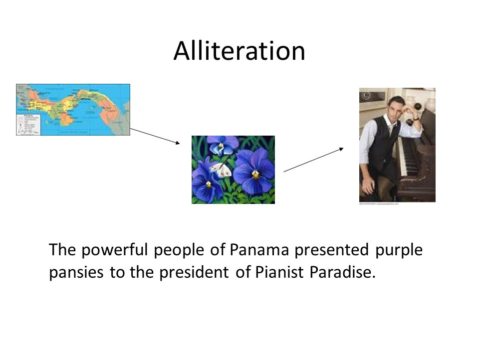 Alliteration The powerful people of Panama presented purple pansies to the president of Pianist Paradise.