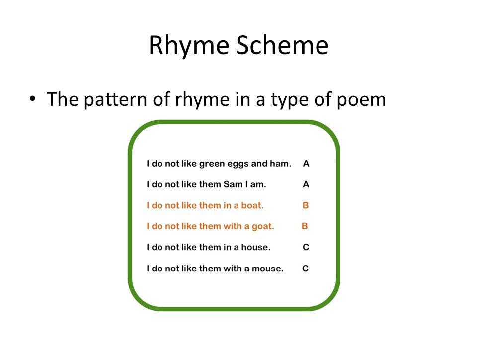 Rhyme Scheme The pattern of rhyme in a type of poem