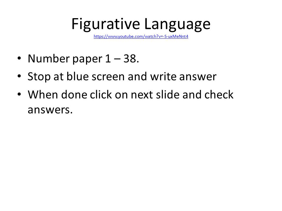 Figurative Language https://www.youtube.com/watch v=-S-uxMeNnt4