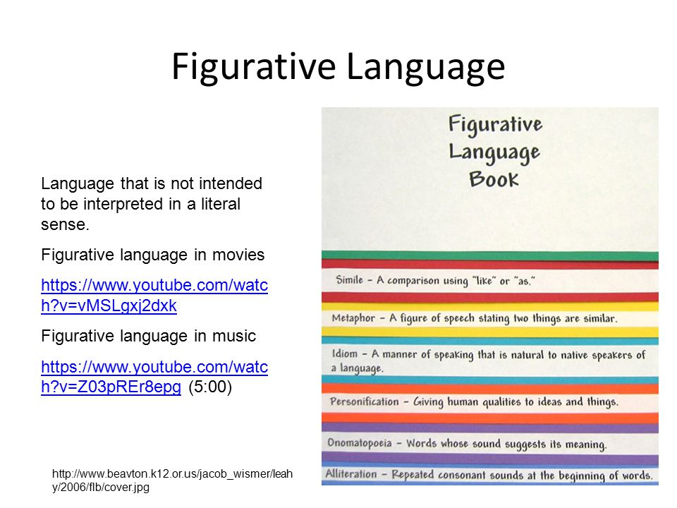 Figurative Language Language that is not intended to be interpreted in a literal sense. Figurative language in movies.