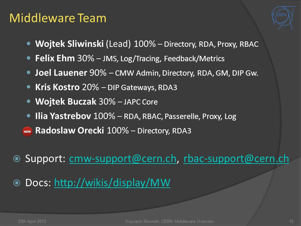 Wojciech Sliwinski, CERN Middleware Overview