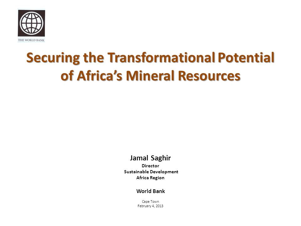 Securing the Transformational Potential of Africa's Mineral Resources