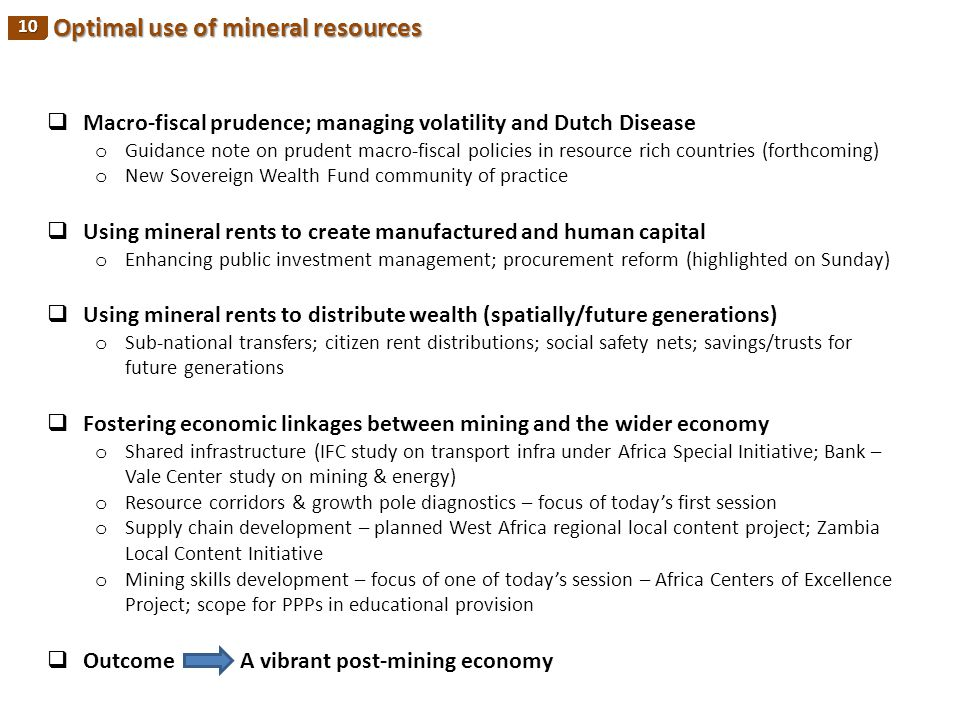 Optimal use of mineral resources