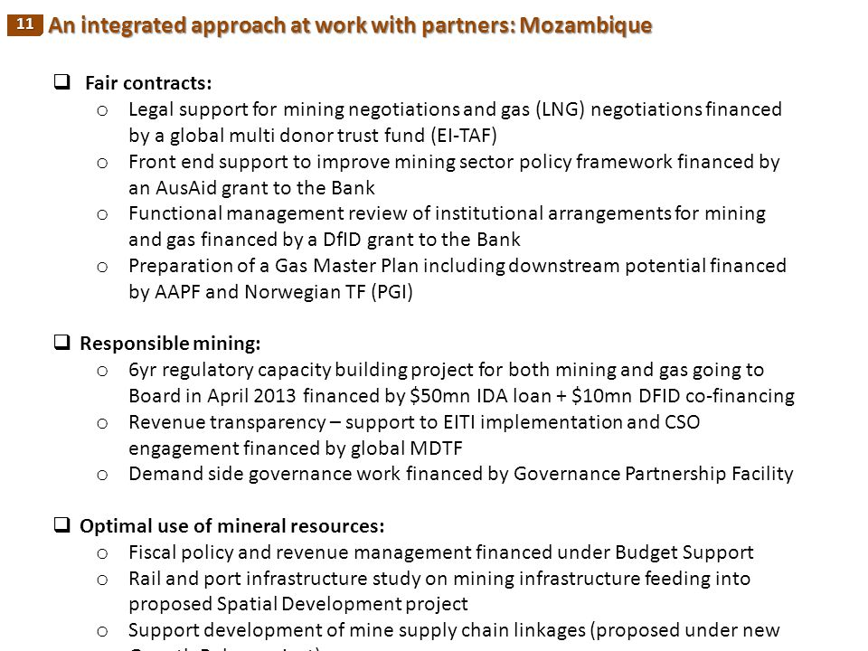 An integrated approach at work with partners: Mozambique