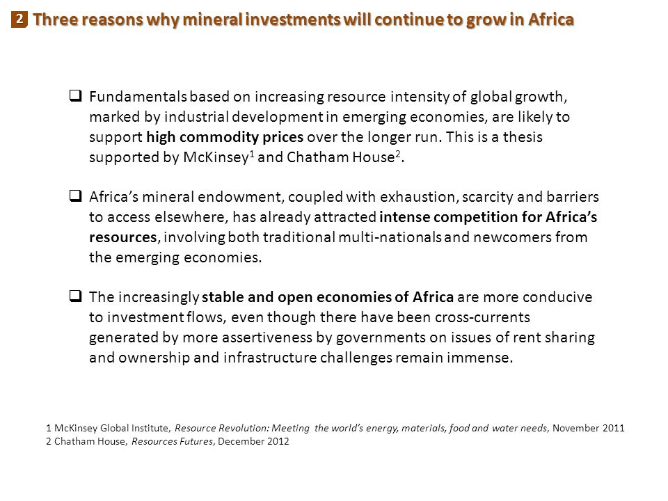 Three reasons why mineral investments will continue to grow in Africa