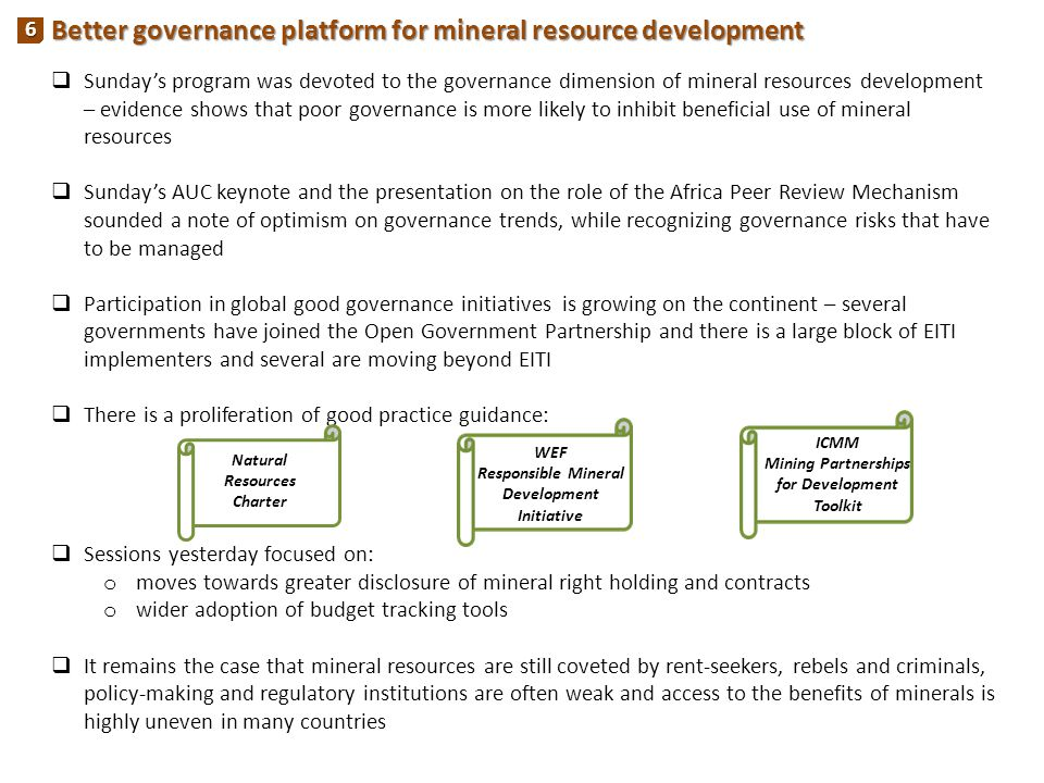 Better governance platform for mineral resource development