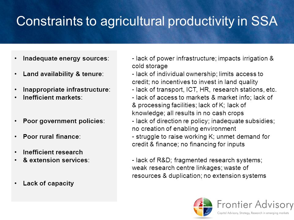 Constraints to agricultural productivity in SSA