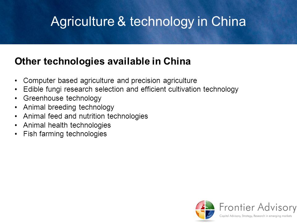 Agriculture & technology in China