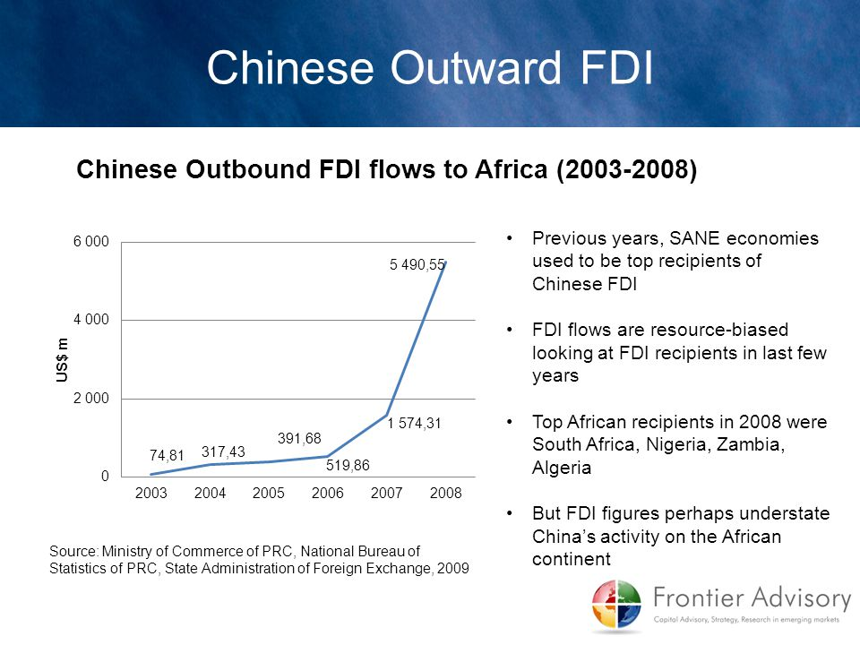 Chinese Outward FDI Chinese Outbound FDI flows to Africa (2003-2008)