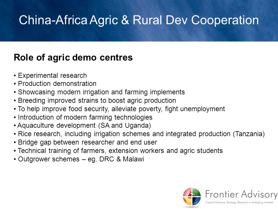 China-Africa Agric & Rural Dev Cooperation