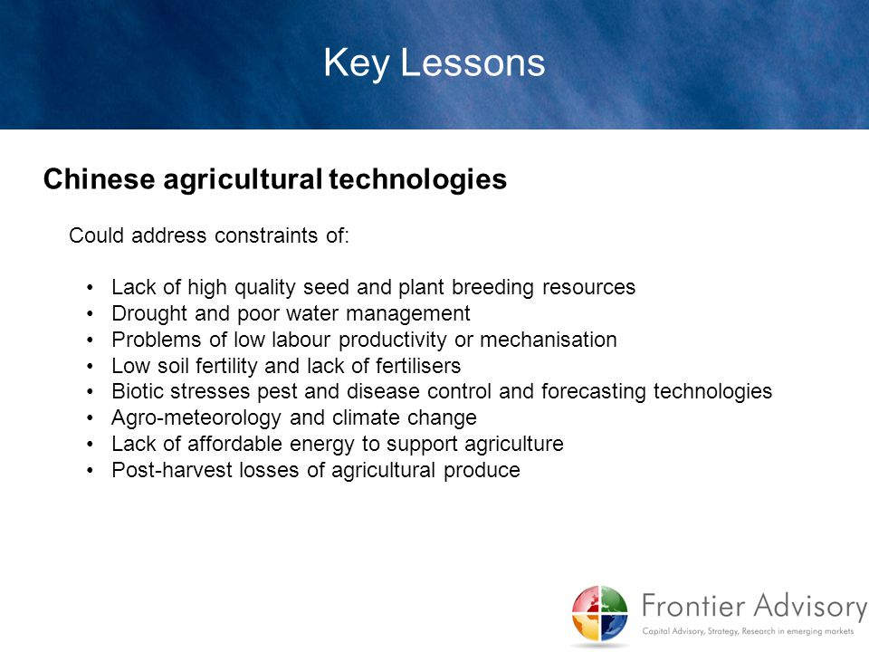 Key Lessons Chinese agricultural technologies