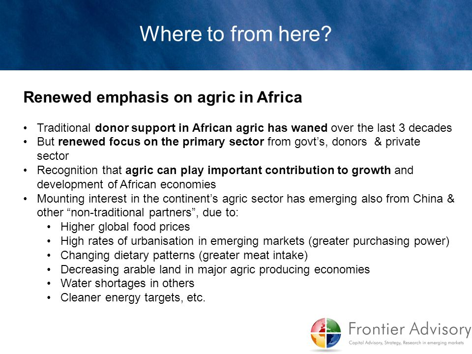 Where to from here Renewed emphasis on agric in Africa