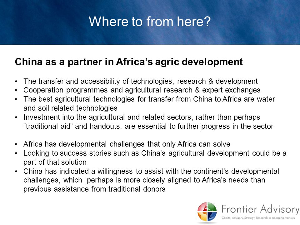 Where to from here China as a partner in Africa's agric development