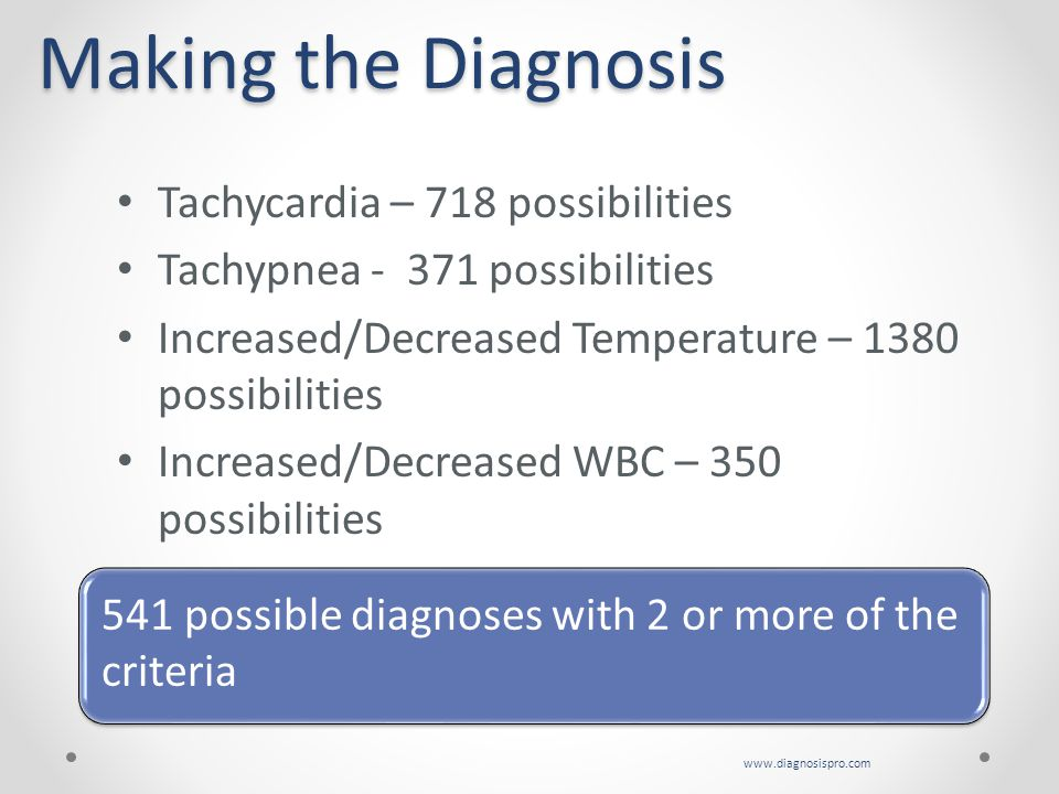 Making the Diagnosis Tachycardia – 718 possibilities. Tachypnea - 371 possibilities. Increased/Decreased Temperature – 1380 possibilities.