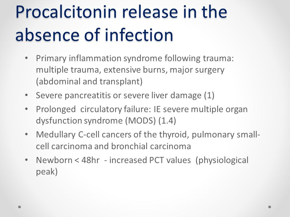 Procalcitonin release in the absence of infection