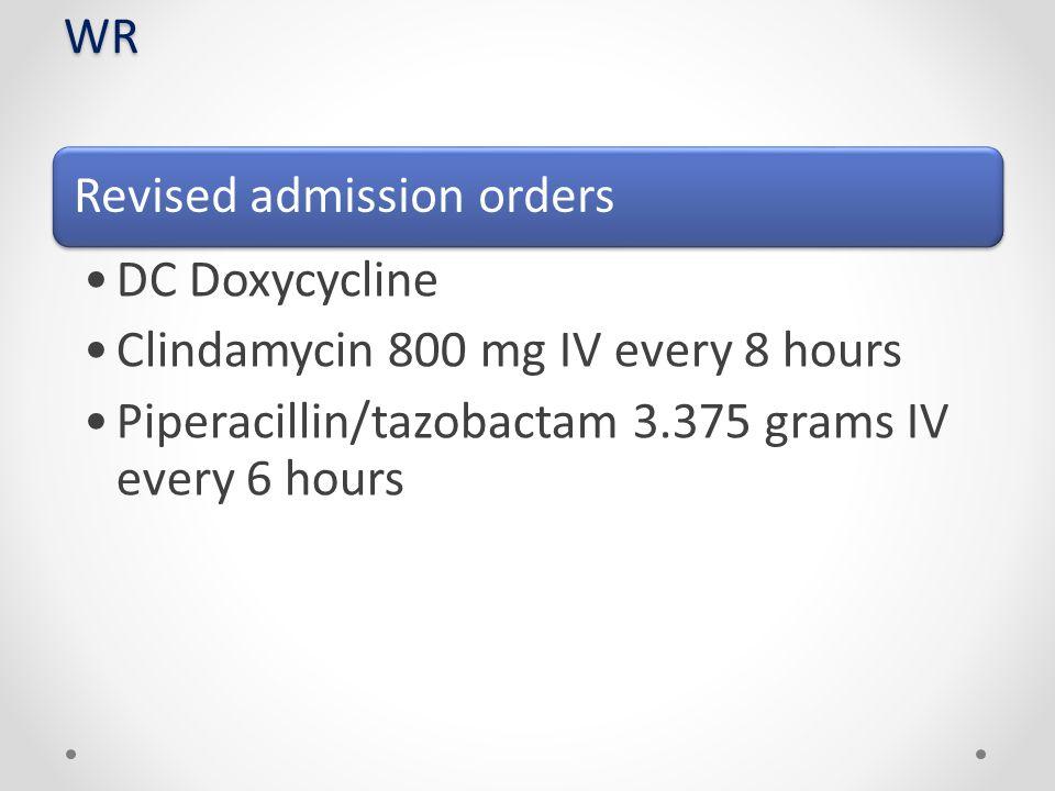 Clindamycin 800 mg IV every 8 hours