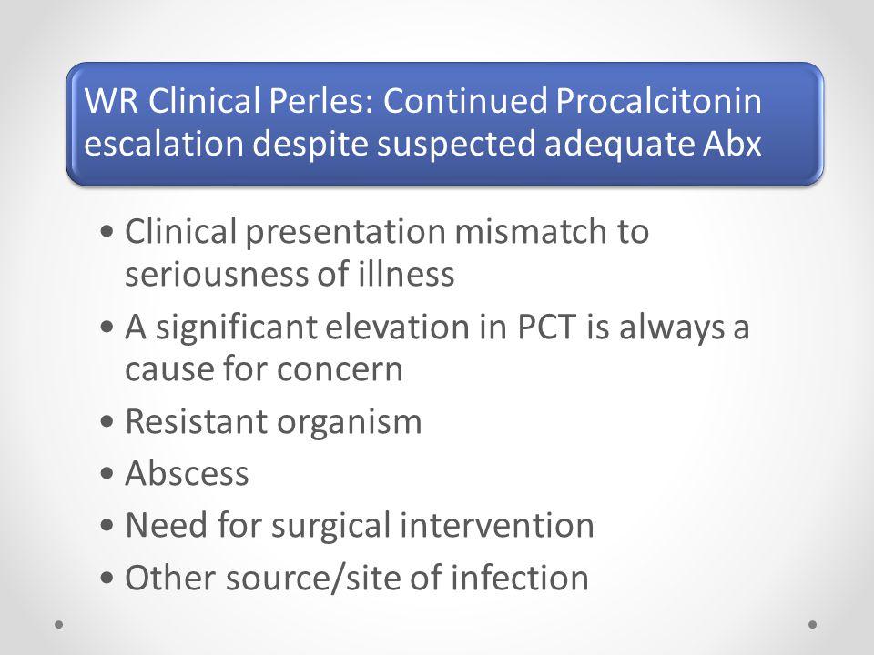 WR Clinical Perles: Continued Procalcitonin escalation despite suspected adequate Abx