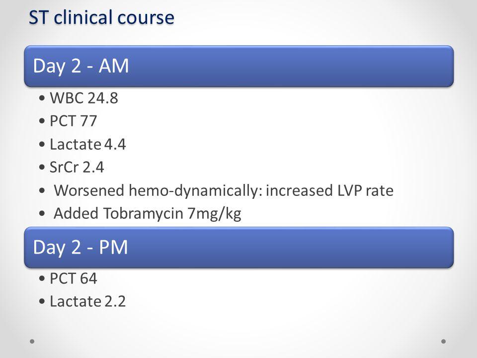 ST clinical course Day 2 - AM WBC 24.8 PCT 77 Lactate 4.4 SrCr 2.4