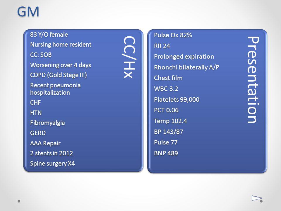 GM Pulse Ox 82% RR 24 Prolonged expiration Rhonchi bilaterally A/P