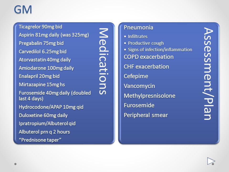 GM Pneumonia COPD exacerbation CHF exacerbation