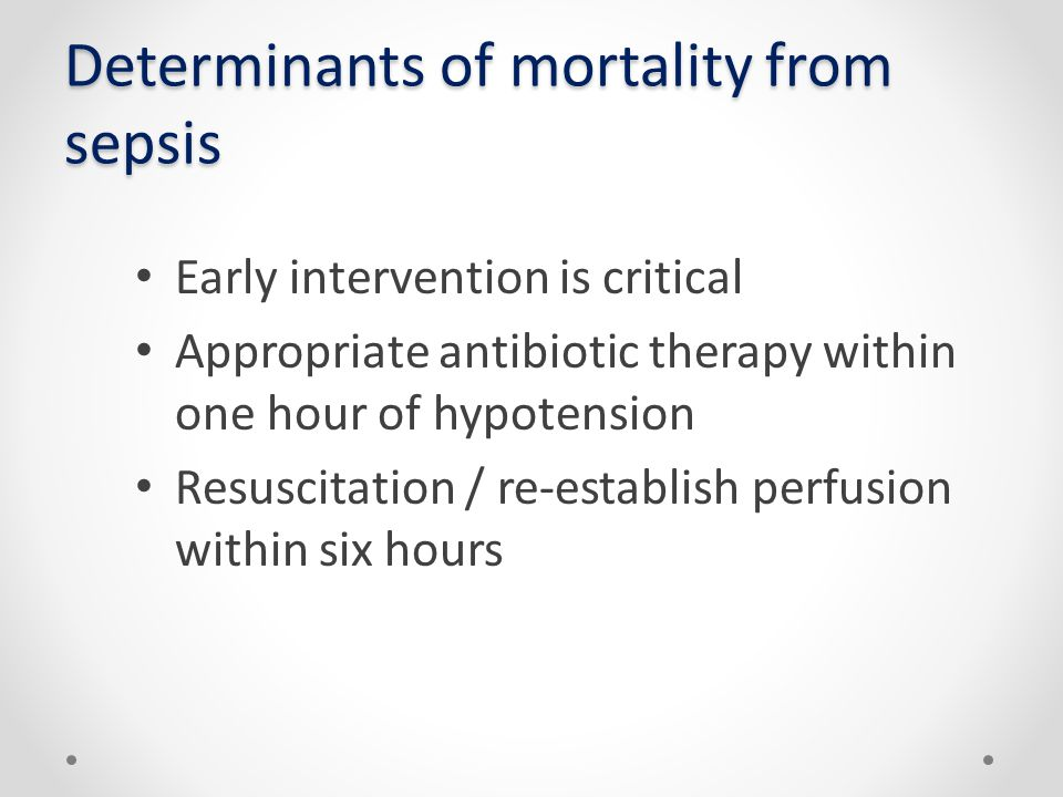 Determinants of mortality from sepsis
