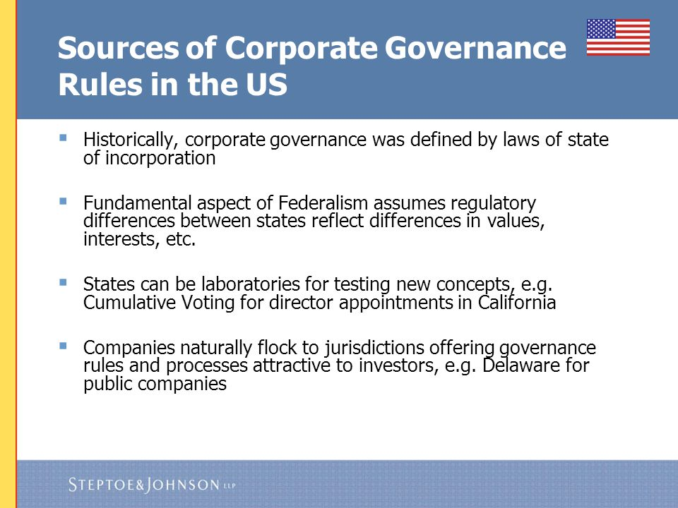US Corporate Governance Increasingly Dictated by Federal Regulation