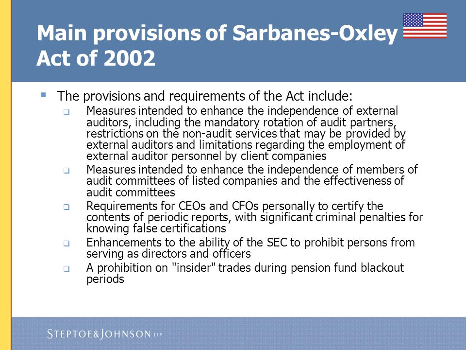 Main provisions of Sarbanes-Oxley Act of 2002