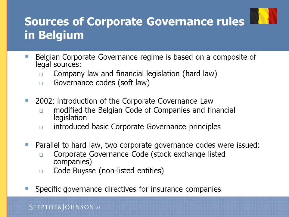 Belgian Corporate Governance Legislation for Listed Companies