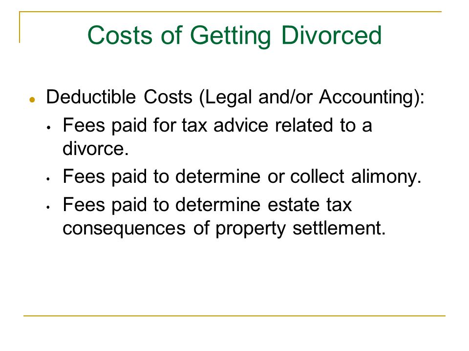 Costs of Getting Divorced
