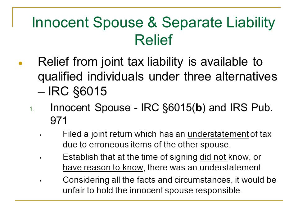 Innocent Spouse & Separate Liability Relief