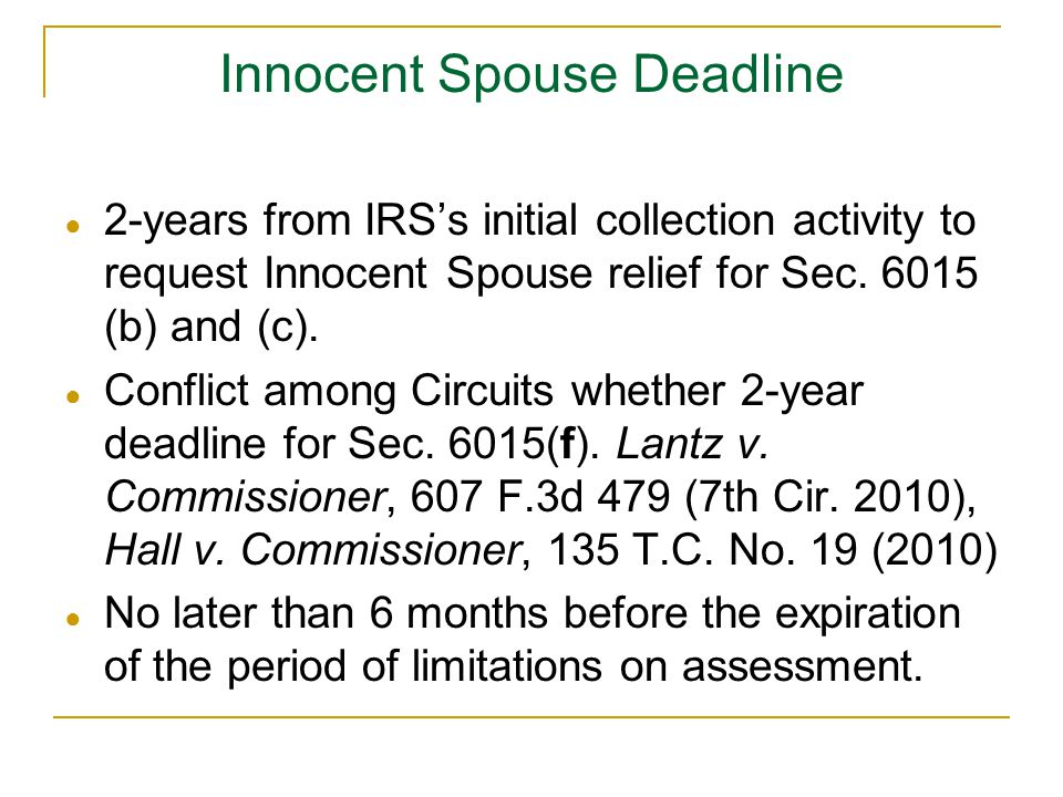 Innocent Spouse Deadline
