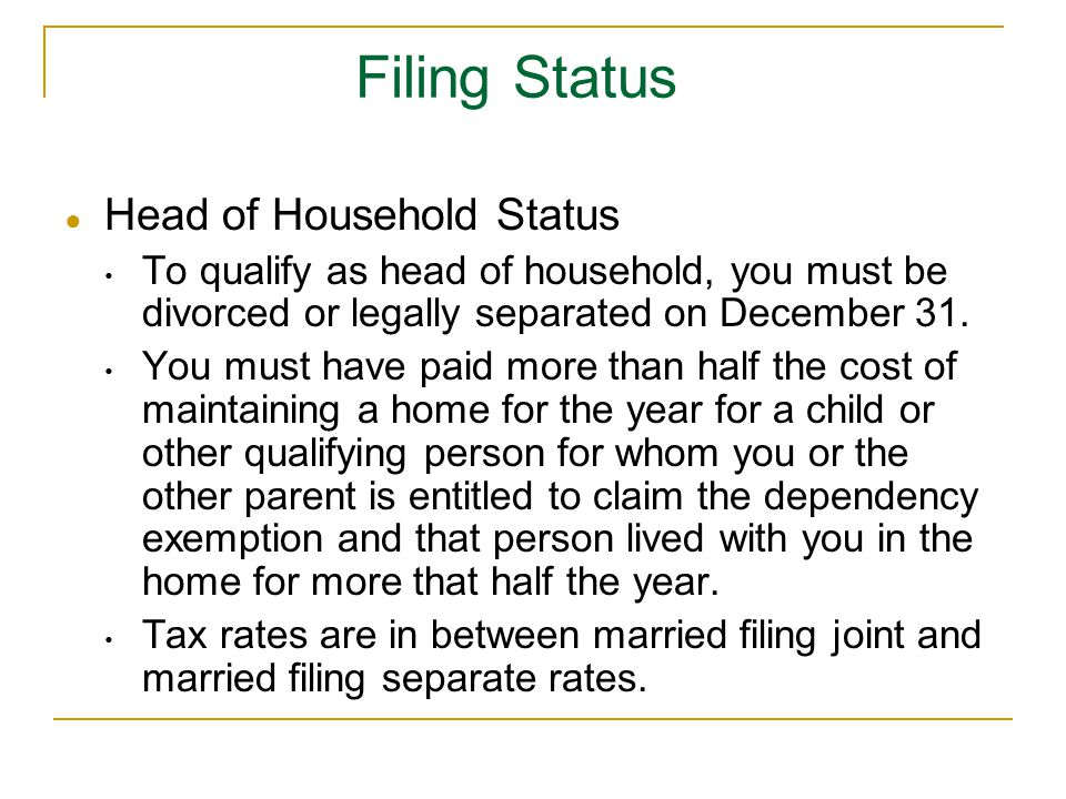 Filing Status Head of Household Status