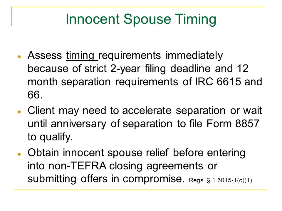 Innocent Spouse Timing