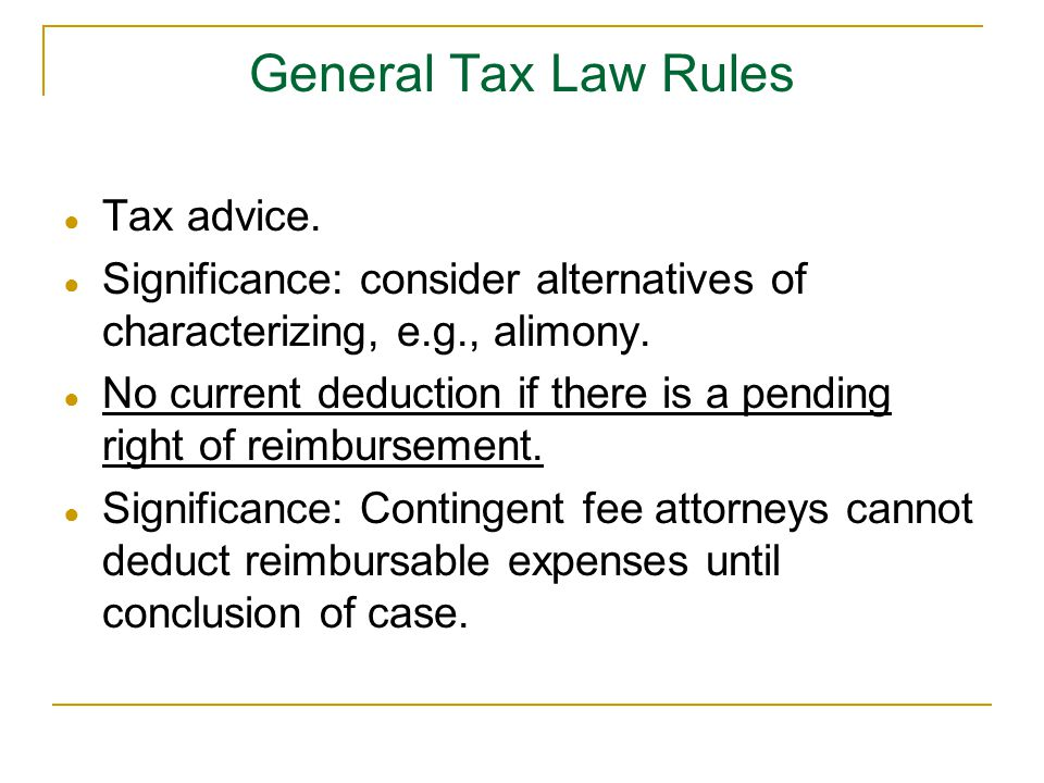 General Tax Law Rules Tax advice.