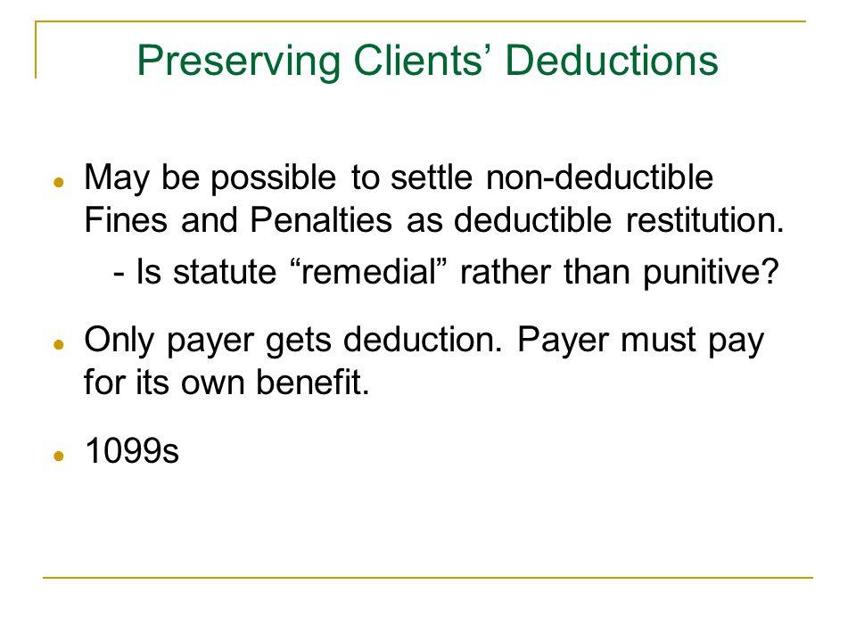 Preserving Clients' Deductions
