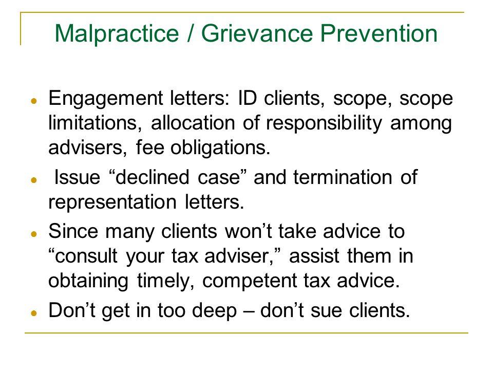 Malpractice / Grievance Prevention