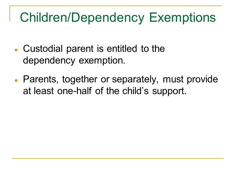 Children/Dependency Exemptions