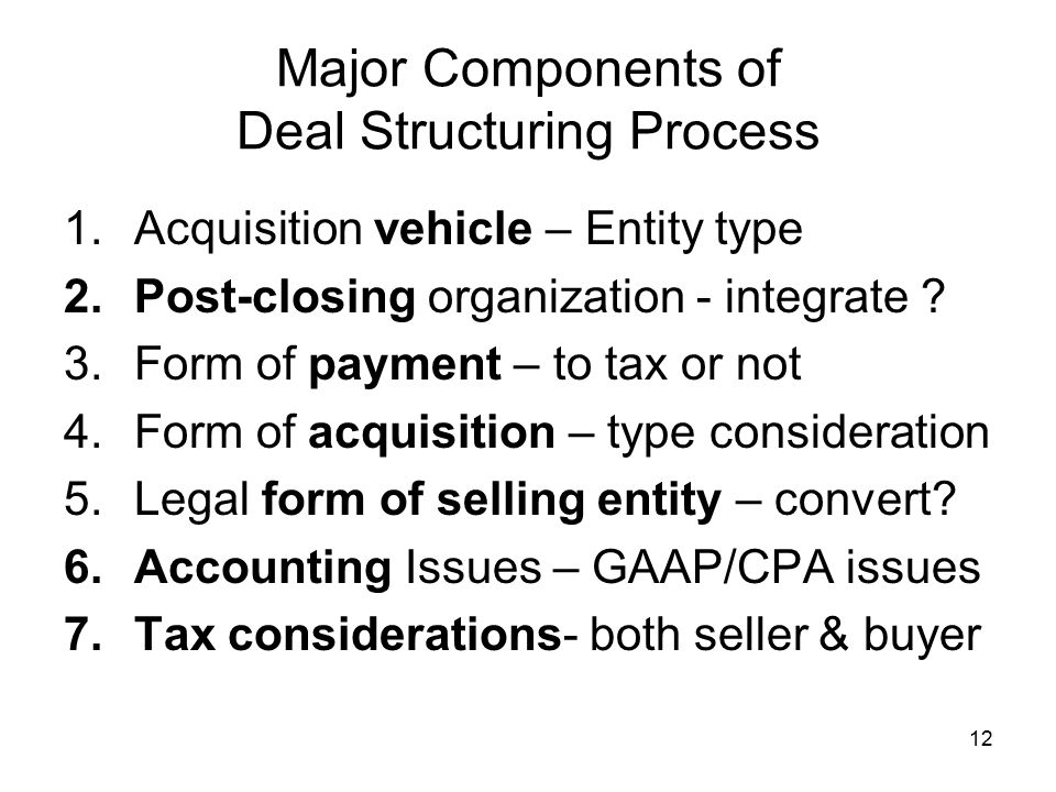 Major Components of Deal Structuring Process