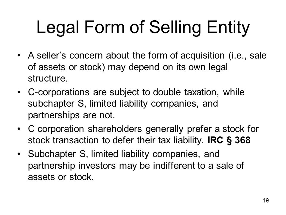 Legal Form of Selling Entity