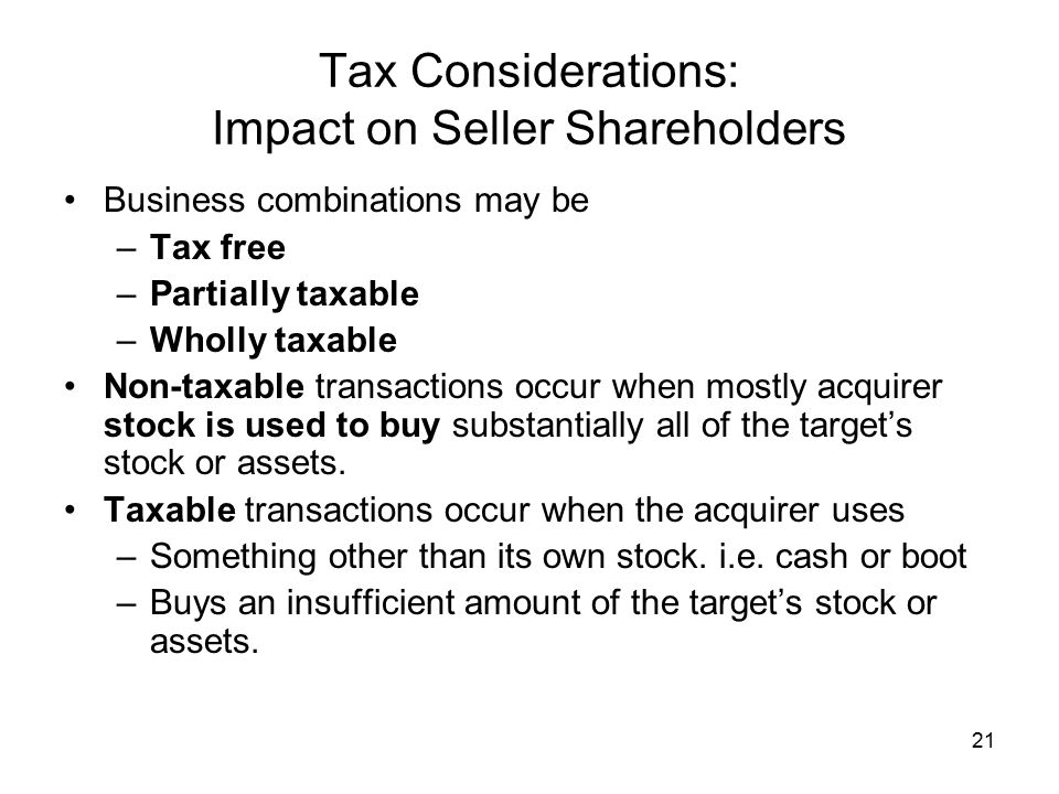 Tax Considerations: Impact on Seller Shareholders
