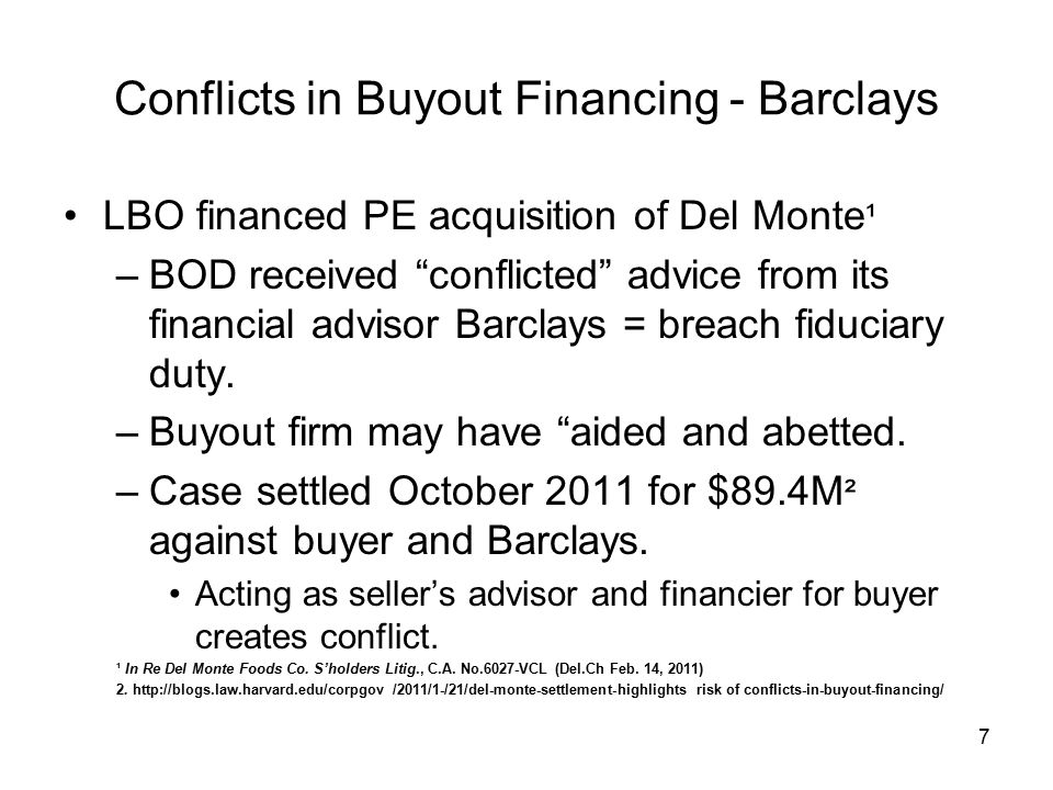 Conflicts in Buyout Financing - Barclays