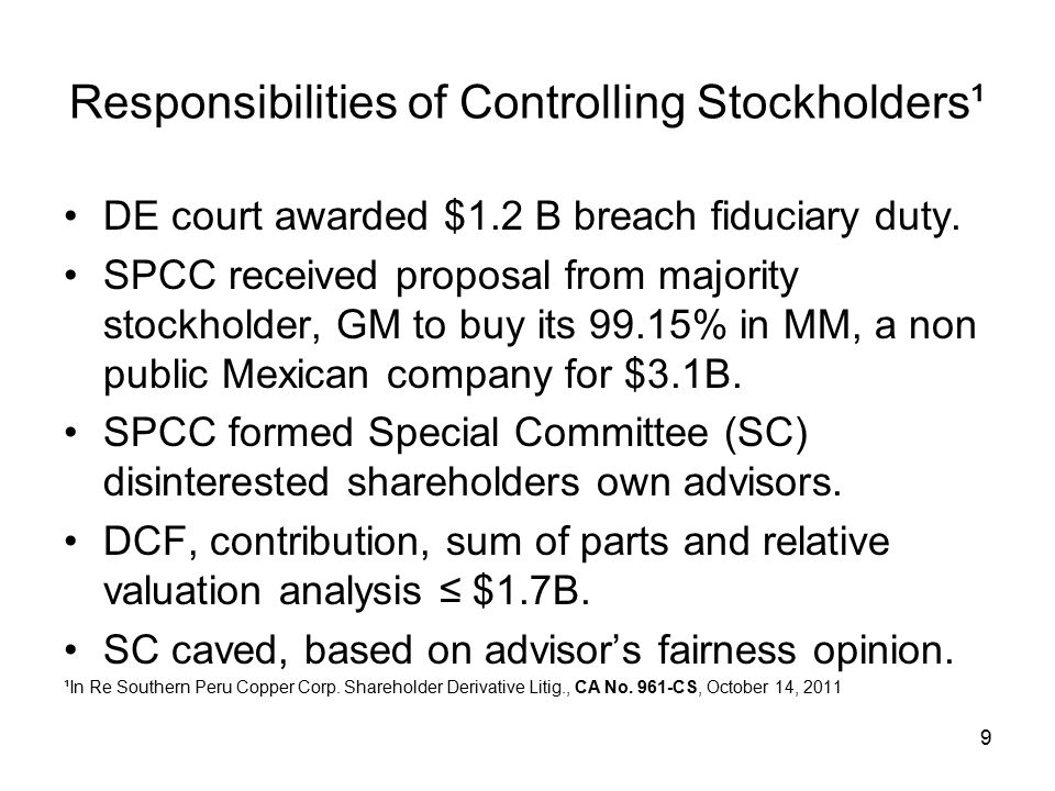 Responsibilities of Controlling Stockholders¹