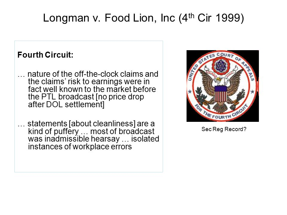 Longman v. Food Lion, Inc (4th Cir 1999)