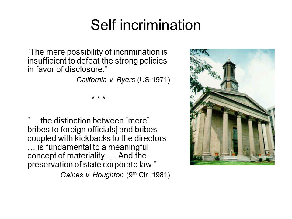 Self incrimination The mere possibility of incrimination is insufficient to defeat the strong policies in favor of disclosure.
