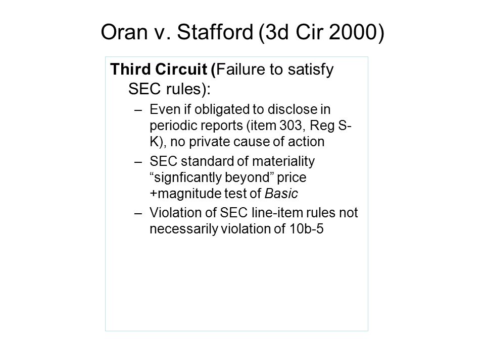 Oran v. Stafford (3d Cir 2000) Third Circuit (Failure to satisfy SEC rules):