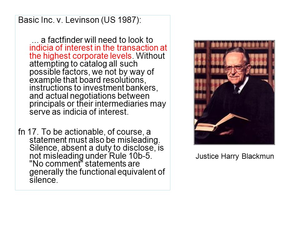 Basic Inc. v. Levinson (US 1987):